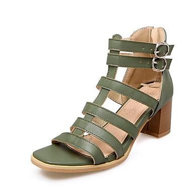 Cuadrado Verano Mujer Confort Marrón Zapatos Sandalias 06863640 Rosa Verde Tacón PU wqqTYxnU
