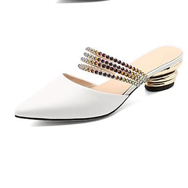 Mules Eté hétérotypique Talon Femme fermé Sabot Bout Blanc Chaussures Nappa 06848116 Cuir Confort amp; tww0g4z