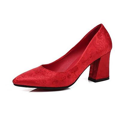 Zapatos de Cuadrado Tacón Boda Rojo Zapatos boda Primavera Satén 06858646 Confort Mujer wgInqFXU