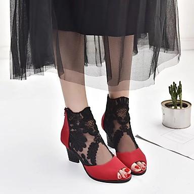 Tobillo Botas el Encaje Tacón 06850013 verano Cuadrado Botas Zapatos Mujer Primavera Negro hasta Rojo 06qaUaTw