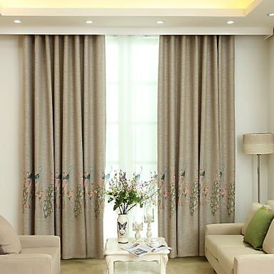 Sólida Cortinas cortinas Dois Painéis 2*(W140cm×L259cm) Amarelo Escuro / Bordado / Quarto