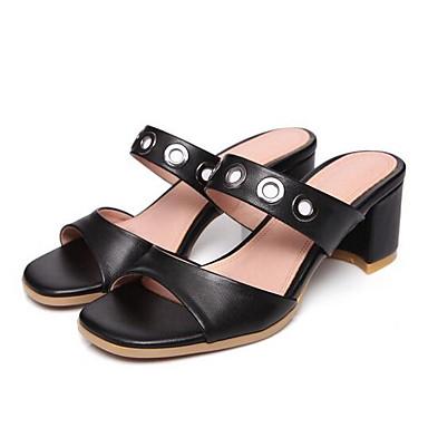 Moderne :Femme Chaussures de confort Cuir Nappa Talon Eté  s Talon Nappa Bottier Blanc / Noir a23f47