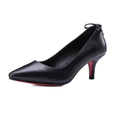 Talons Chaussures Basique 06841468 Femme Cuir Talon à Chaussures Noir Blanc Nappa Automne Confort Aiguille Escarpin TFzUgqw