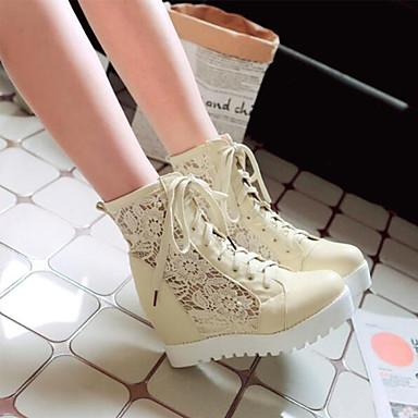 Evénement Botillons rond Soirée Femme Amande Chaussures Botte Bout Noir amp; Automne Bottes Creepers Printemps amp; 06864548 Bottine Polyuréthane Dentelle Demi Blanc HgqBH