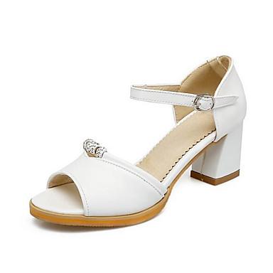 Tacón Blanco PU Mujer Verano Almendra Confort Sandalias 06848670 Cuadrado Rosa Zapatos H1H6q0X
