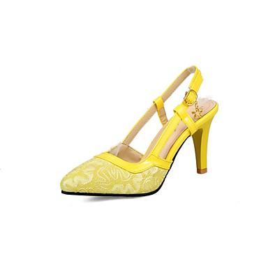 Sandales Polyuréthane pointu A Aiguille Noir Jaune Chaussures 06857026 Automne Bout Arrière Dentelle Bride Talon Femme Rouge amp; Printemps OzApqE