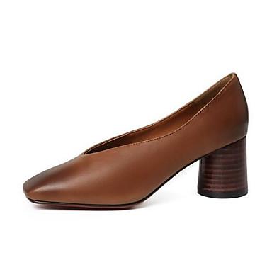 Femme Chaussures de confort Peau de mouton Printemps Chaussures Talon à Talons Talon Chaussures Bottier Noir / Marron 5f9d36