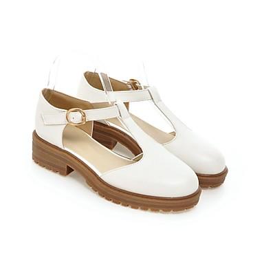 Mujer Zapatos Primavera Negro Cuadrado Tacón Confort verano PU 06858351 Blanco Sandalias 1aPnrqad