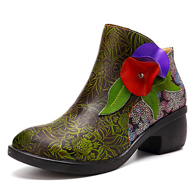 Women's Bootie Nappa Leather Spring & Chunky  Fall Vintage Boots Chunky & Heel Booties / Ankle Boots Satin Flower Green 84e258
