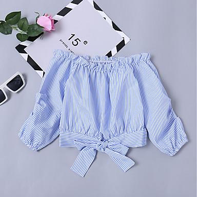baratos Moletons Para Meninas-Infantil Para Meninas Básico Moda de Rua Diário Para Noite Sólido Laço Manga Longa Curto Algodão Camisa Azul Claro