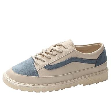 Women's Comfort Shoes PU(Polyurethane) Fall Sneakers Flat Heel Round Round Heel Toe Beige / Blue / Pink / Color Block 3166dd