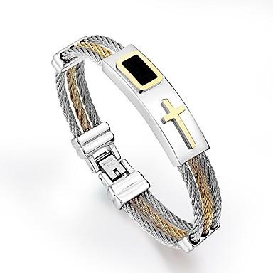 voordelige Dames Sieraden-Heren Hologramarmband Stijlvol Sideways Cross Kruis Punk Titanium Staal Armband sieraden Goud / Zilver Voor Dagelijks