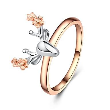 billige Motering-Dame Ring 1pc Rose Gull Kobber Gullplatert rose damer Klassisk Tegneserie Jul Festival Smykker Skulptur Elk Blomst Smuk