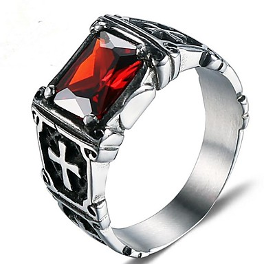 fd8c5810d Men's Red Ruby Classic Midi Ring Titanium Steel Fashion Military Ring  Jewelry Silver For Gift Daily 8 / 9 / 10 / 11 / 12