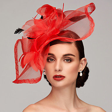 cheap Party Accessories-Feather / Net Kentucky Derby Hat / Fascinators / Headpiece with Feather / Floral / Flower 1pc Wedding / Special Occasion Headpiece