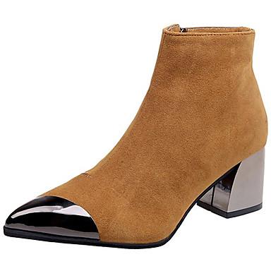 povoljno Ženske čizme-Žene Čizme Fashion Boots Kockasta potpetica Krakova Toe Brušena koža / PU Čizme gležnjače / do gležnja minimalizam Jesen Crn / Bijela / Crvena / Color block