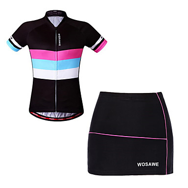 32d03b76f WOSAWE Women s Short Sleeve Cycling Jersey with Shorts - Black Bike Skirt  Jersey Padded Shorts