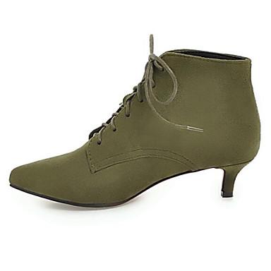 voordelige Dameslaarzen-Dames Laarzen Comfort schoenen Lage hak Gepuntte Teen Suède / Microvezel Korte laarsjes / Enkellaarsjes Winter Zwart / Rood / Groen