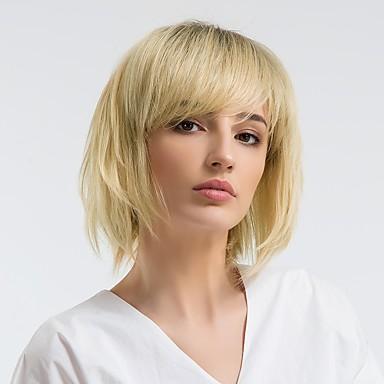 Human Hair Capless Wigs Human Hair Straight Bob Haircut Ombre Hair