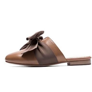 رخيصةأون صنادل نسائية-نسائي صنادل أحذية الراحة كعب مسطخ Leather نابا الخريف أسود / البيج / بني فاتح