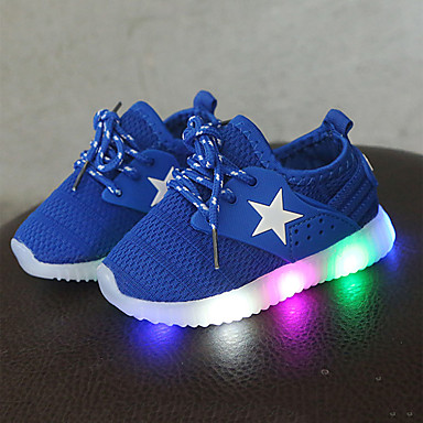 voordelige Babyschoenentjes-Jongens / Meisjes Comfortabel / Oplichtende schoenen Netstof Sneakers Veters / LED Zwart / Blauw / Roze Lente & Herfst