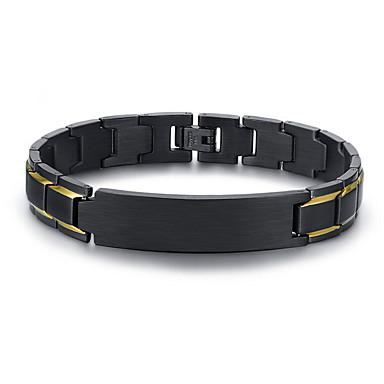 voordelige Herensieraden-Heren Armband Tweekleurig Schakelketting Uniek ontwerp Europees 18 Karaats Verguld Armband sieraden Zwart Voor Dagelijks Straat / Titanium Staal