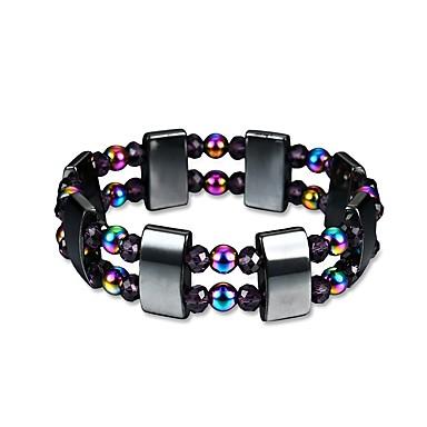 abordables Bracelet-Bracelet à Perles Bracelet Hologramme Homme Perles Magnétique Obsidienne Créatif Branché Mode énergie Bracelet Bijoux Arc-en-ciel pour Cadeau Quotidien