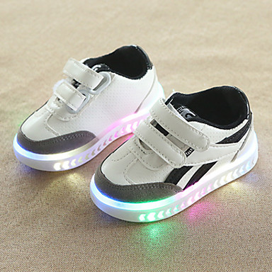 voordelige Babyschoenentjes-Jongens / Meisjes Comfortabel / Oplichtende schoenen PU Sneakers Peuter (9m-4ys) / Little Kids (4-7ys) Haak & Lus / LED Wit / Zwart Herfst winter