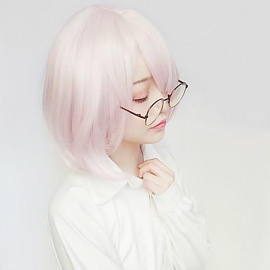 Fate / zero Matthew Kyrielit Mujer 14 pulgada Fibra resistente al calor Rosa Animé Pelucas de Cosplay