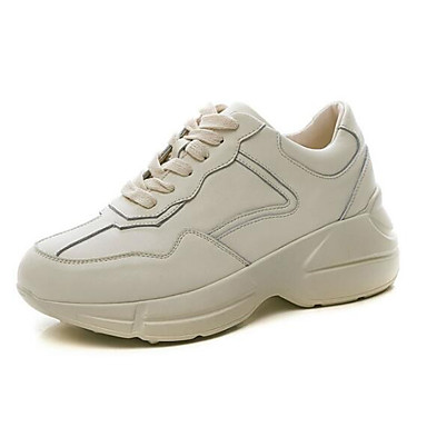 competitive price 615b8 402aa Women s Comfort Shoes Nappa Nappa Nappa Leather Spring Sneakers Flat Heel  Square Toe Beige 86e7e0