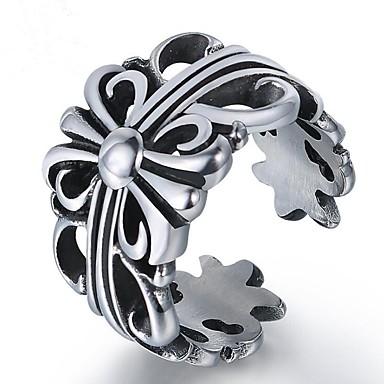 billige Motering-Par Midi Ring 1pc Sølv Titanium Stål Geometrisk Form damer Vintage Fest Daglig Smykker Vintage Stil Blomst Kul