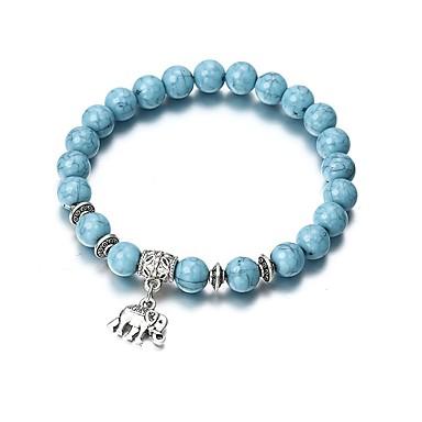 abordables Bracelet-Bracelet à Perles Bracelet Pendentif Femme Tendance Perles Turquoise Eléphant dames Rétro Vintage Mode Bracelet Bijoux Bleu Circulaire pour Sortie Bar