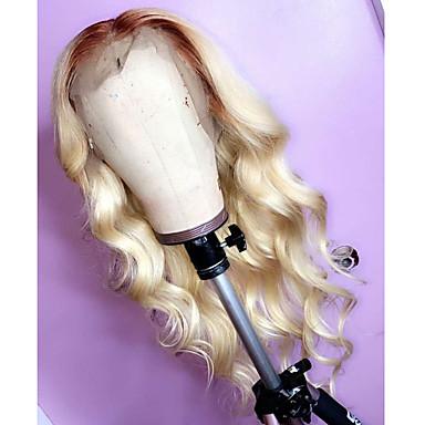 billige Blondeparykker med menneskehår-Remy Menneskehår Blonde Forside Parykk Midtdel stil Peruviansk hår Bølget Parykk 130% Hair Tetthet med baby hår Naturlig hårlinje Blekte knuter Dame Lang Blondeparykker med menneskehår beikashang
