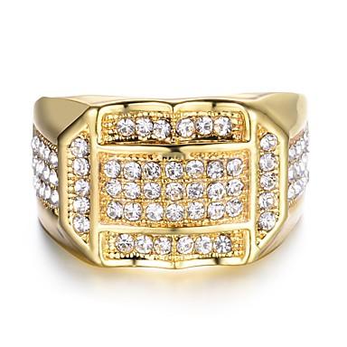 voordelige Herensieraden-Heren Bandring Ring Zegelring 1pc Goud Zilver Koper Vierkant Hip-hop Italiaans Bruiloft Maskerade Sieraden stack