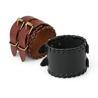 voordelige Herensieraden-Heren Vintage Armbanden Lederen armbanden Vintagestijl Gevlochten aar Stijlvol Vintage Punk PU-nahka Armband sieraden Zwart / Bruin Voor Dagelijks Straat