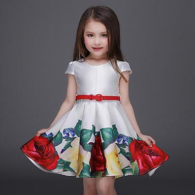 baratos Princesa-Infantil Bébé Para Meninas Activo Doce Festa Para Noite Floral Estampado Manga Curta Acima do Joelho Vestido Branco