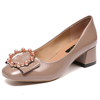 Women's Pumps PU(Polyurethane) Fall Minimalism Heels Chunky Heel Almond Imitation Pearl Black / Almond Heel 99bd56