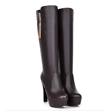8c731a5f9d5 Dam Fashion Boots PU Höst Stövlar Bastant klack Knähöga stövlar Svart /  Beige / Mörkbrun