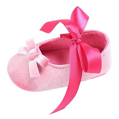 voordelige Babyschoenentjes-Meisjes Comfortabel / Eerste schoentjes Chiffon Platte schoenen Peuter (9m-4ys) Strik / Veters Rood Licht / Roze / Amandel Lente & Herfst