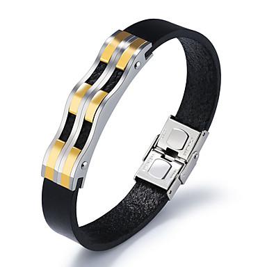 voordelige Herensieraden-Heren Lederen armbanden Klassiek Tweekleurig Golf Uniek ontwerp Koreaans 18 Karaats Verguld Armband sieraden Goud / Zwart Voor Dagelijks