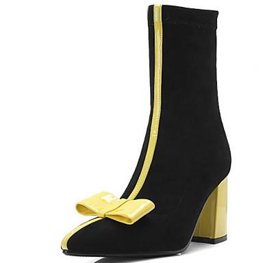 33405a30e0e87 Damskie Fashion Boots Mikrowłókno Jesień i zima Botki Masywny obcas Nasek w  szpic Kozaki Kokarda Czarny / Żółty / Różowy