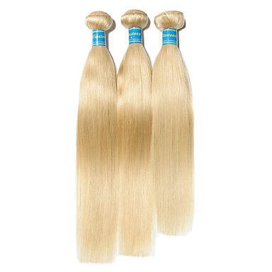 414af5b0745a 3 Bundles Brazilian Hair Straight 10A Virgin Human Hair Remy Human Hair  Precolored Hair Weaves 10-26 inch Blonde Human Hair Weaves Best Quality  100% Virgin ...