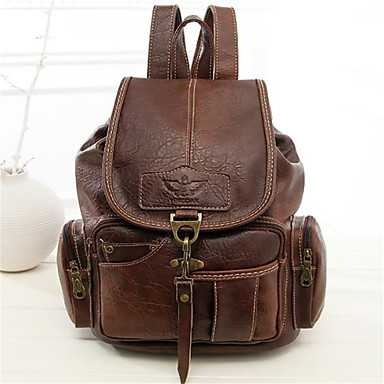 cheap Backpacks-PU Buttons Commuter Backpack Daily Brown / Black / Dark Brown