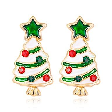 billige Moteøreringer-Dame Øredobber 3D Juletre damer Klassisk Mote Strass øredobber Smykker Regnbue Til Jul Nyttår 1 par
