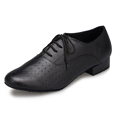 baratos Shall We® Sapatos de Dança-Homens Sapatos de Dança Pele Sapatos de Dança Moderna Recortes Têni Salto Grosso Preto / EU42