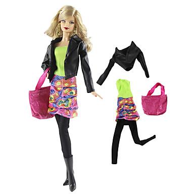 voordelige Poppenaccessoires-Doll accessoires Pop Outfit Poppenbroek Casual Lolita Tweedelig 4 pcs Voor Barbie Modieus Groen En Zwart Geweven stof Doek Katoenen Doek Jas / Top / Rok Voor voor meisjes Speelgoedpop