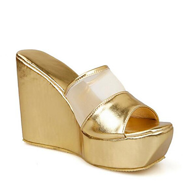78ac9f18052 Women s Comfort Shoes PU(Polyurethane) Summer Sandals Wedge Heel Gold    Black   Silver