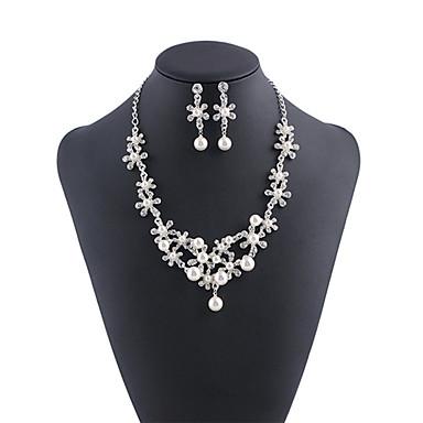Žene Bijela Kristal Ogrlica Naušnice Set Klasičan Gypsophila Luksuz Naušnice Jewelry Pink Za Vjenčanje Party 1set