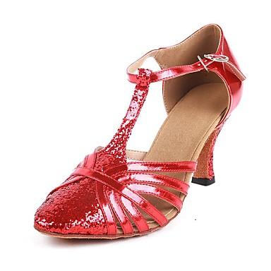 Žene Plesne cipele PU Moderna obuća Kopča / Blistati Sandale / Štikle Deblja visoka potpetica Moguće personalizirati Crvena / Seksi blagdanski kostimi