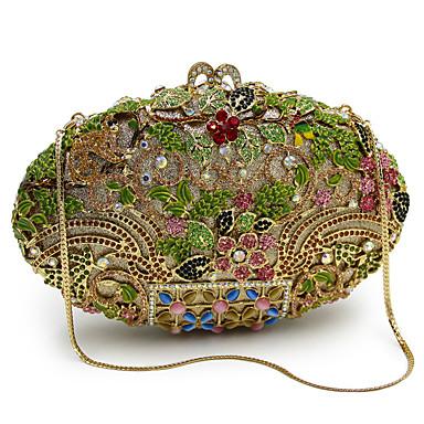 billige Vesker-Dame Krystalldetaljer / Uthult Legering Aftenveske Rhinestone Crystal Evening Bags Dyr Gull / Svart / Høst vinter